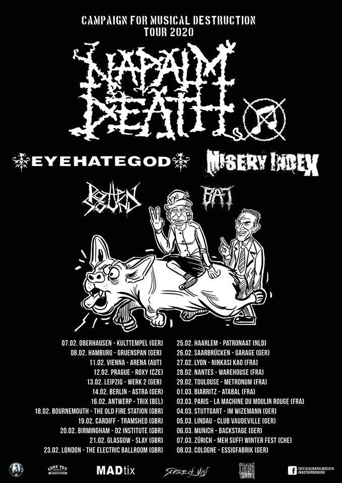 Napalm Death, Tour 2020